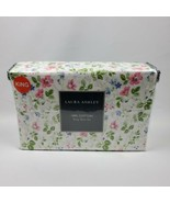 Laura Ashley Spring Bloom Pink Violet Florals Shabby Chic 4 Pc King Sheet Set 1A - $85.45