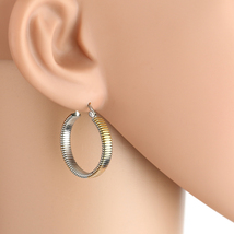 Contemporary Tri-Color Silver, Gold & Rose Tone Hoop Earrings- United Elegance - $12.99