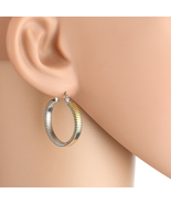 Contemporary Tri-Color Silver, Gold & Rose Tone Hoop Earrings- United El... - $12.99