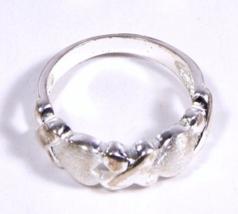 Vintage .925 Sterling Silver Hearts & X Design Ring - $17.95