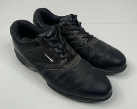 Nike Air men's size 10W black leather golf shoes O7 - $24.75