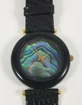 Vintage Kalifano Watch Black Onyx Abalone Quartz - NOS - $11.99