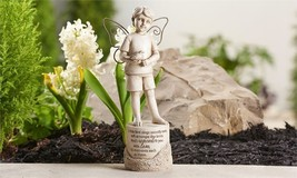 "Memorial Boy Garden Statue w Sentiment & Textural Detailing 9.7"" Stone Finish - $34.64"