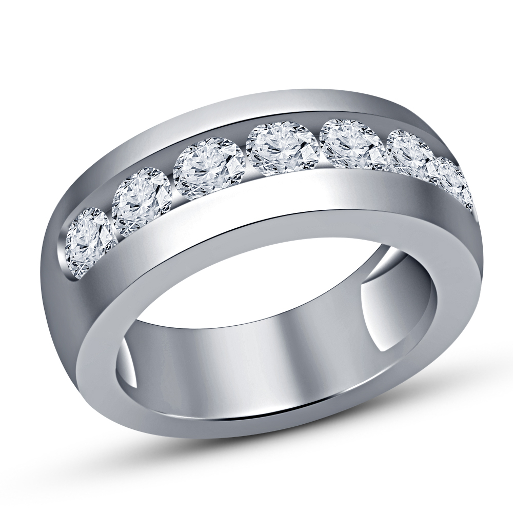 Primary image for Men's Round Cut White Lab Diamond Wedding Band Ring 14k Solid White Gold Finish