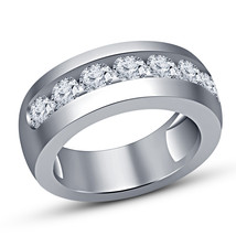 Men's Round Cut White Lab Diamond Wedding Band Ring 14k Solid White Gold Finish - £52.18 GBP