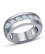 Men's Round Cut White Lab Diamond Wedding Band Ring 14k Solid White Gold... - $64.99