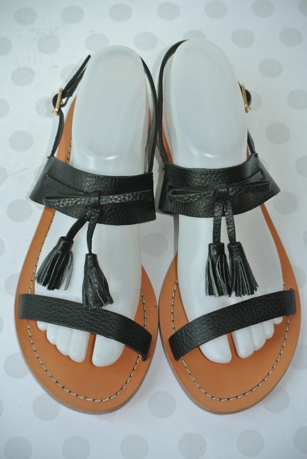 d4bfc2c4ff9c NEW Kate Spade New York Carlita Womens Sz 8 Black Leather Tassel Strappy  Sandals