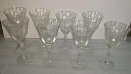 Set of Eight (8) Crystal Stemmed Wine Glasses with Floral Design - $59.95