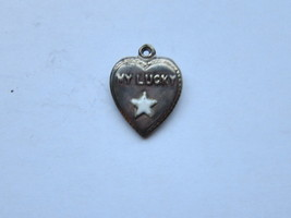 Vintage Sterling silver enameled puffy heart charm- LUCKY STAR - €27,07 EUR