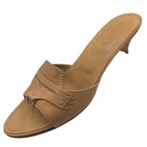 SH5 TOD'S Sz 6 Tan Leather Low Heel Slides Sandals Made In Italy - $37.61