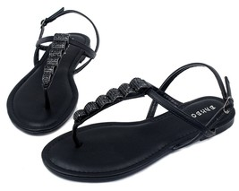 Josalyn-19 Precious Stone Flats Cute Sandals Gladiator Party Women Shoes Black - $12.59