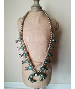 Vintage Squash Blossom Necklace Turquoise Silver Native American Fashion... - $2,301.74
