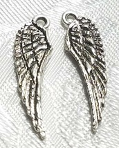 DOUBLE SIDED WING FINE PEWTER PENDANT CHARM - 7mm L x 26mm W x 1.5mm D image 1