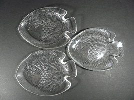 """Set of 3 Clear Glass Fish Plates Arcoroc France 6 1/2"""" x 5"""" Small Side P... - $10.00"""