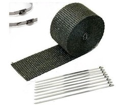 "Chevrolet 1"" x 25' Protection Header Exhaust Heat Wrap black with 8 Stee... - $12.60"
