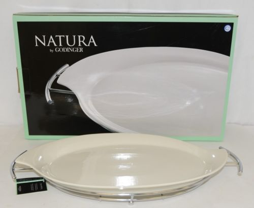 Godinger 6387 Natura 11 By 16 Inch White Porcelain Serving Tray With Rack