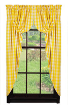 New Picnic Yellow Checked Prairie Curtain Set - $64.34