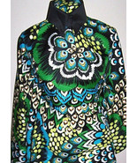 Brightly Colored Peacock Print Nylon Non Stretch Jacket Fabric 1 Yard 18... - $45.00