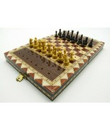 Vintage Travel Peg Chess Set Inlaid Marquetry Folding Board - $19.99