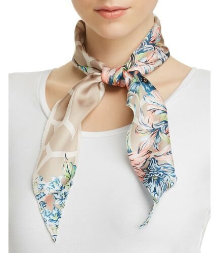 Primary image for Echo Adelaide Floral Print Silk Diamond Scarf (Pastel Gray)