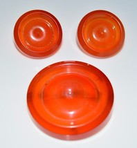 VTG Baltic Amber or Tree Sap Button Round Carved Disk Disc Earrings & Br... - $247.50