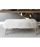 Horchow Jonathan Adler Style White Sheepskin Fur Bench with Gold Legs Lu... - $513.81