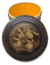 Antique Vintage Cherubs Angels Wood Paper Box Trinket Vanity Round Decor... - $62.99