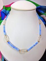 """Artisan Made Blue Czech & Austrian Glass Bead Necklace 19"""" w/Gold Plated Clasp - $5.00"""