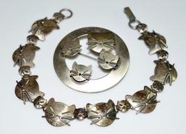 VTG RARE BEAU STERLING Cat Brooch Pin Matching Bracelet Set - $99.00
