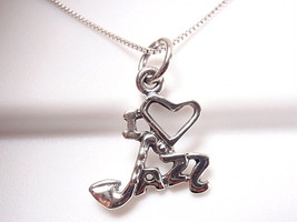 "I LOVE JAZZ Necklace 925 Sterling Silver Corona Sun Jewelry Saxophone as the ""J"" - $16.82"