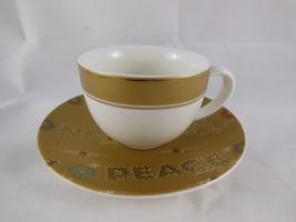 Starbucks Christmas Espresso Cup & Saucer Peace Noel Joy Gold & White 3 oz 2006 - $7.61