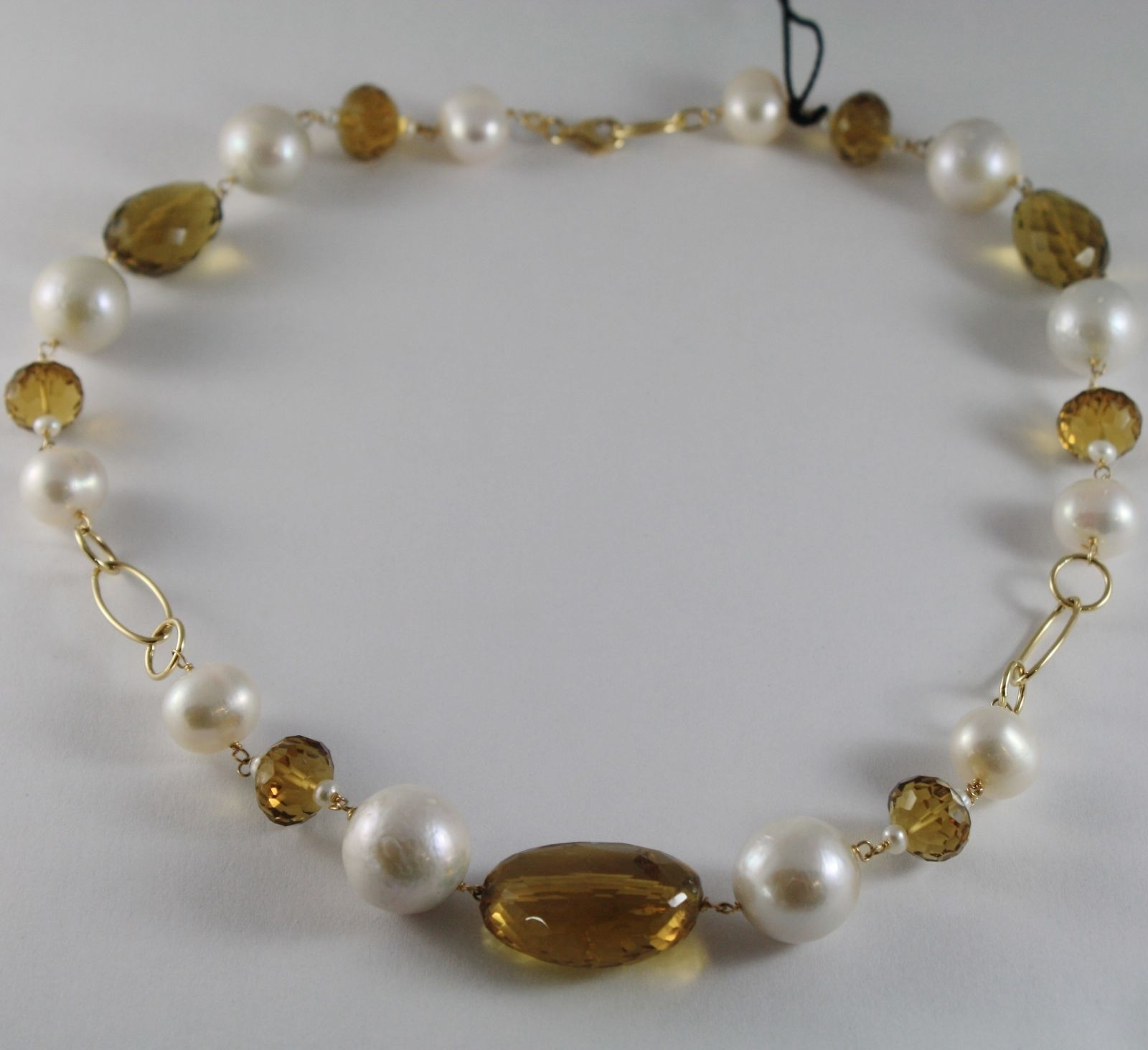 18K YELLOW GOLD NECKLACE BIG WHITE PEARLS & CUSHION BEER BROWN QUARTZ ITALY MADE