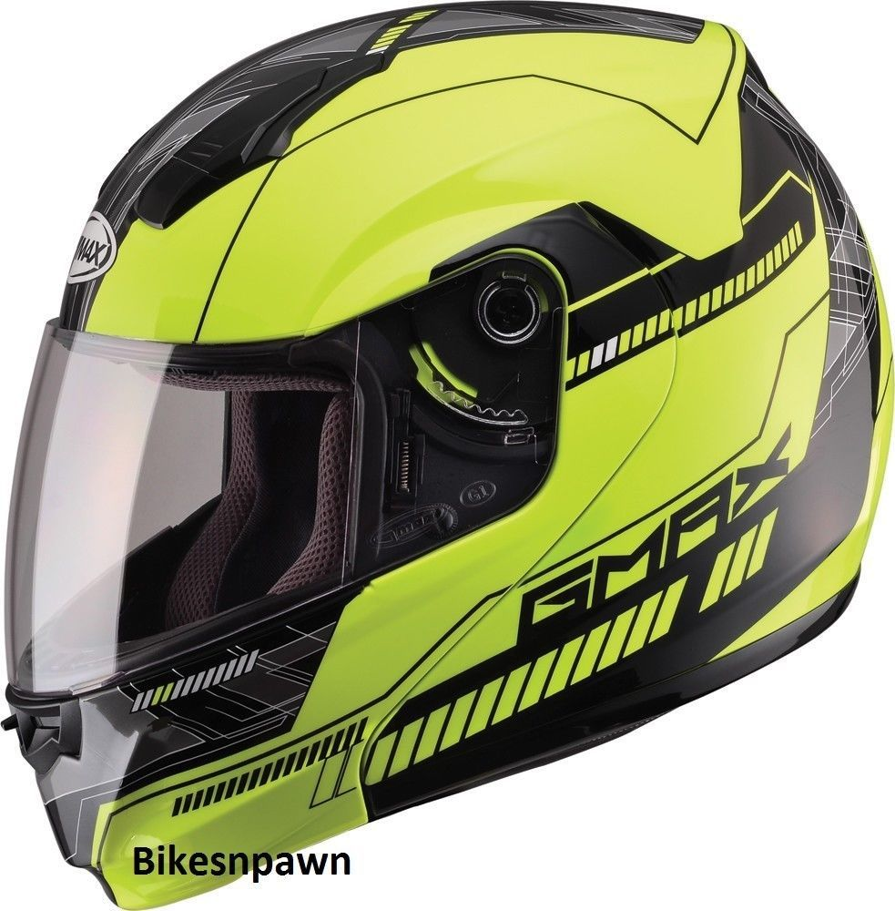 XL GMax MD04 Hi ViZ Yellow / Black Modular Street Motorcycle Helmet DOT