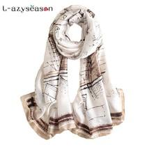 Scarf Soft Long Size Print Silk Scarves Shawl Wrap Pashmina Beach Stoles... - $13.22