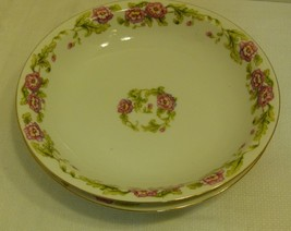 Hira China Made in Occupied Japan Set of 2 Soup Bowls Pink Flowers; Gold... - $9.99