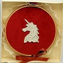 Christmas Ornament UNICORN EMBROIDERY HOOP Hallmark 1980s Velvet Lace 6 ... - $18.81