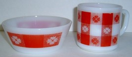 """Vintage Federal 5"""" Bowl Red Tablecloth Pattern & Matching Cup - Nice - $14.99"""