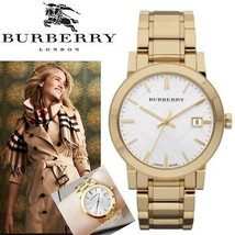 NEW Burberry Watch  Swiss Gold Ion-Plated Stainless Steel Bracelet 38mm ... - $272.24