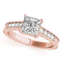 925 Silver Women's Engagement Ring In Rose GP 925 Silver Princess Cut White CZ - $74.90