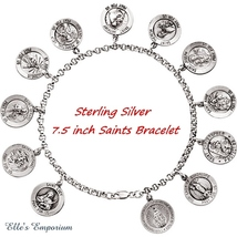 Exquisite Sterling Silver 7.5 inch Bracelet with 12 Saints - $179.99