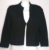 Eileen Fisher Black Cardigan Sweater S Small One Button Cropped Filament NWT - $168.29