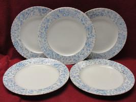 """Five (5) VICTORIA CALSBAD Austrian Porcelain 8"""" Dessert Plates Blue Floral - $39.95"""