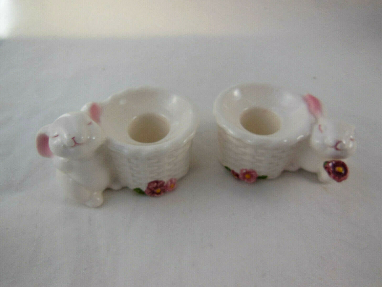 Vintage Avon Bunny Taper Candle Holders Ceramic Rabbit Easter Unused in Box