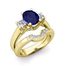 14k Yellow Gold Plated 1.00Ctw Sapphire & D/VVS1 Diamond Three-Stone Bri... - $119.99