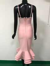 Sexy Solid Pink Fluted Bandage Deep V Party Dress image 5