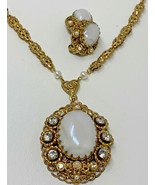 WEST GERMANY FILIGREE MOONSTONE GLASS RHINESTONE PEARL NECKLACE & Earrin... - $47.45