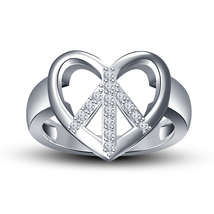 14k White GP 925 Silver Round Cut Simulated Diamond Heart Shape Engagement Ring - $69.08