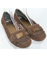 AK Anne Klein Kina brown suede round toe slip on penny loafer kilty flat... - $22.49