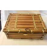 Hand Made Brown Wooden Trinket or Jewelry Box With Lattice Weave - $44.55