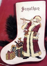 Janlynn Flutist Old Fashioned Santa w/ Flute Cross Stitch Stocking Kit 54-37 E - $47.95